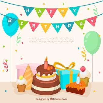 Sfondo di deliziosa torta di compleanno e decorazione del partito