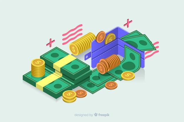 Sfondo di denaro isometrica