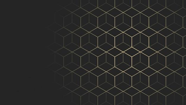 Sfondo di dimensioni pagina web geometrica nera e oro