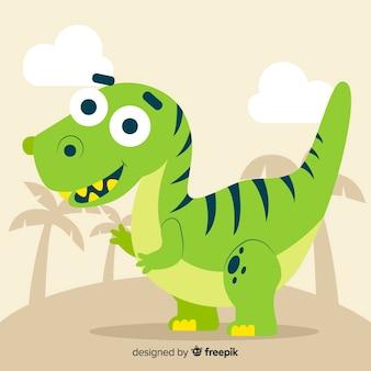 Sfondo di dinosauro t-rex piatta