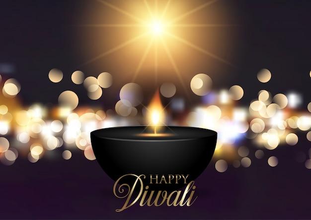 Sfondo di diwali con luci bokeh