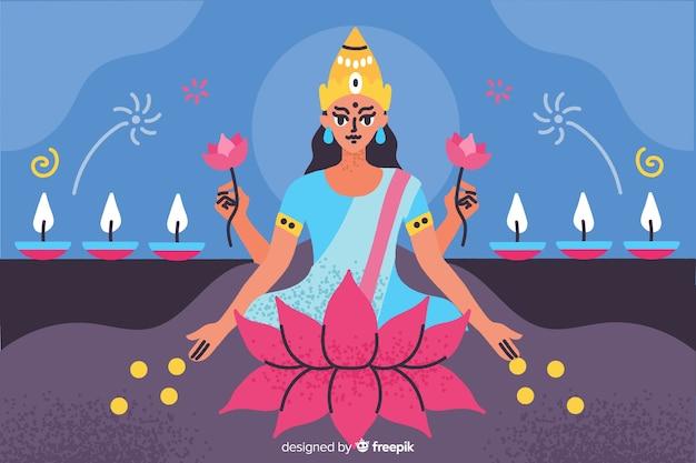 Sfondo di diwali disegnato a mano con candele