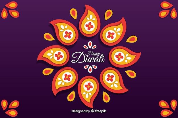 Sfondo di diwali felice stile carta