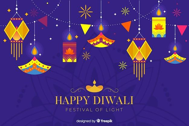 Sfondo di diwali piatto a sospensione