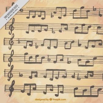 Sfondo di doghe con note musicali