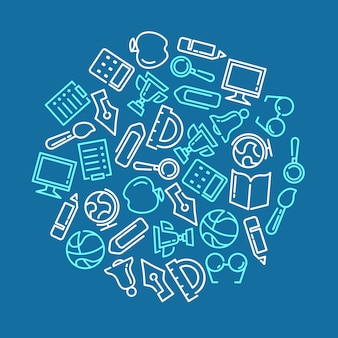 Sfondo di educazione con icone foderate