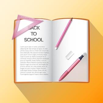 Sfondo di educazione con materiale scolastico