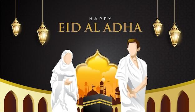 Sfondo di eid al adha e hajj mabrour con kaaba, uomo e donna hajj character