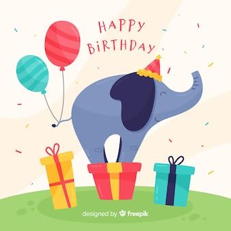 Sfondo di elefante di compleanno