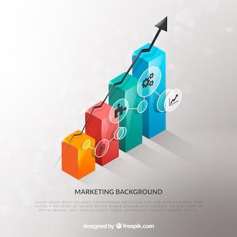 Sfondo di elementi di marketing in stile realistico