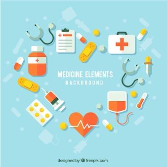 Sfondo di elementi di medicina in stile piano