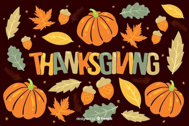 Sfondo di elementi di ringraziamento disegnati a mano