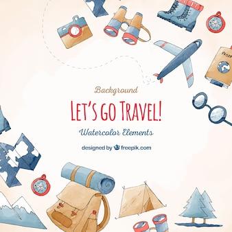 Sfondo di elementi di viaggi e vacanze
