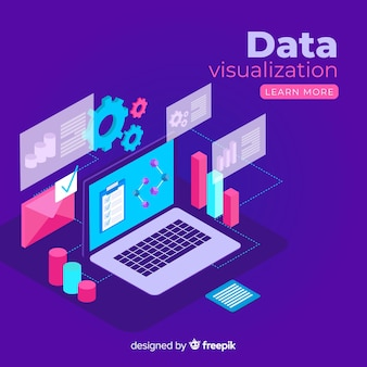 Sfondo di elementi di visualizzazione dei dati isometrici