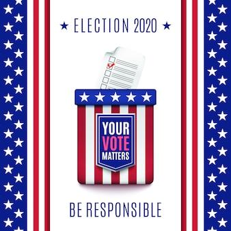 Sfondo di elezioni americane 2020 con urne.