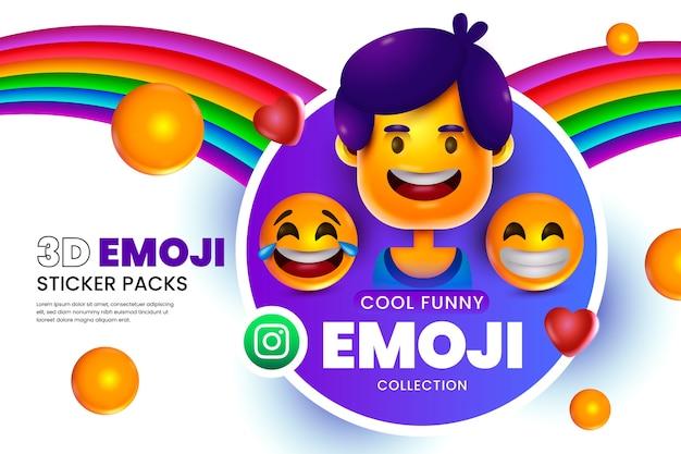 Sfondo di emoji 3d con faccine