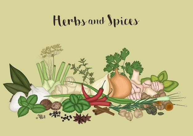 Sfondo di erbe e spezie
