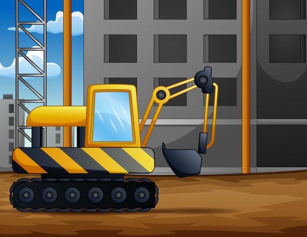 Sfondo di escavatore a cucchiaia rovescia sul cantiere