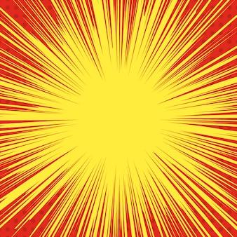Sfondo di esplosione di stile comico. linee di velocità del supereroe. elemento per poster, stampa, carta, banner, flyer. immagine
