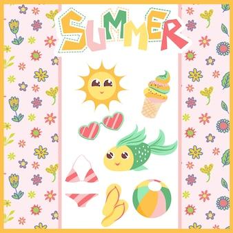 Sfondo di estate con pesce, gelato e sole