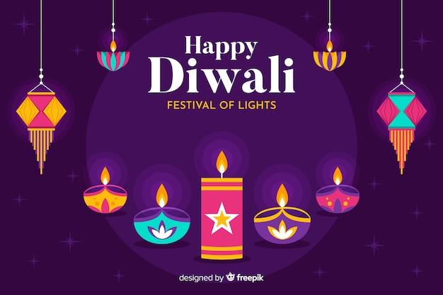 Sfondo di evento culturale piatto diwali