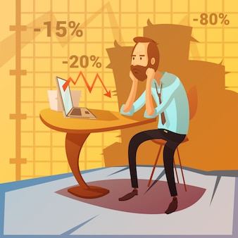 Sfondo di fallimento aziendale con recessione e diminuzione dei simboli