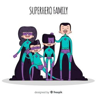 Sfondo di famiglia supereroe dei cartoni animati