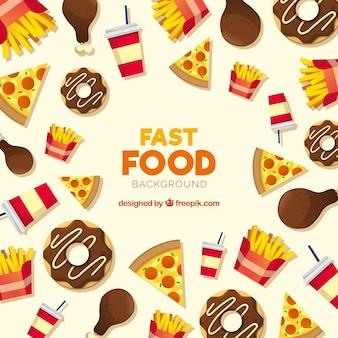 Sfondo di fast food con design piatto