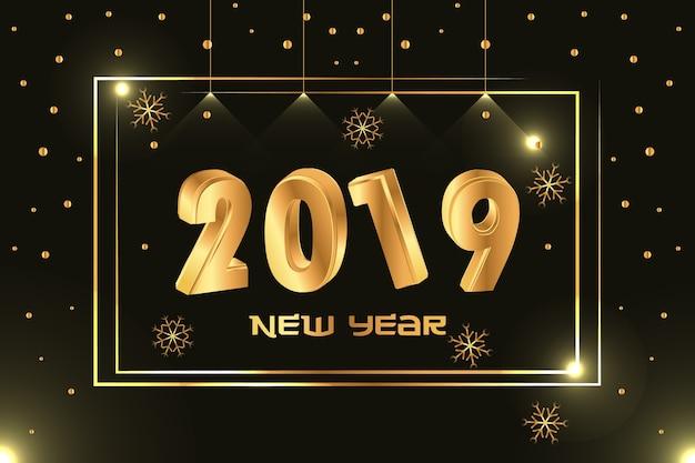 Sfondo di felice anno nuovo 2019 con luce