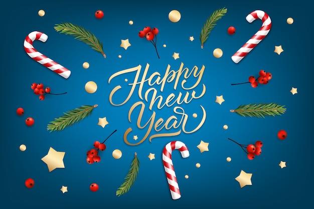 Sfondo di festa per auguri di buon natale e felice anno nuovo con un realistico palle di natale, bastoncini di zucchero, bacche rosse