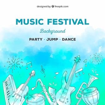 Sfondo di festival di musica con diversi strumenti