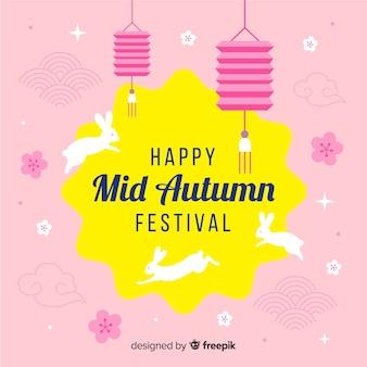 Sfondo di festival metà autunno piatto