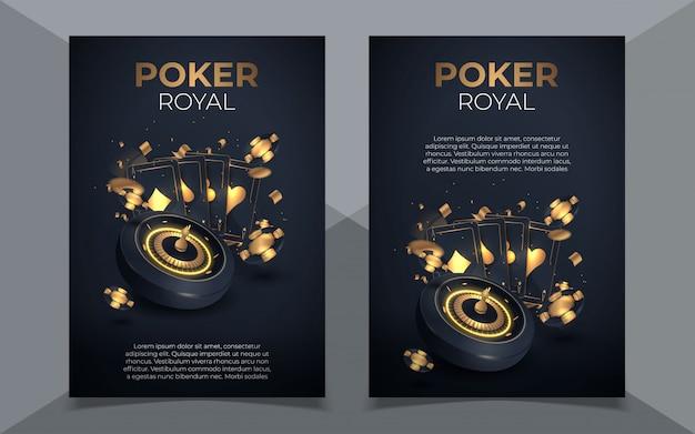 Sfondo di fiches e carte da poker. poster del modello di poker casinò. layout di progettazione volantino.