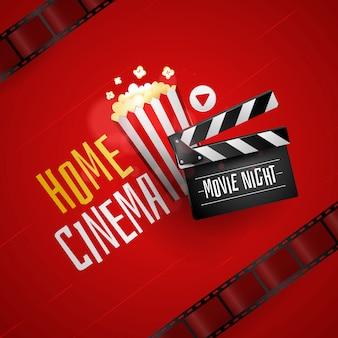 Sfondo di film domestici con popcorn