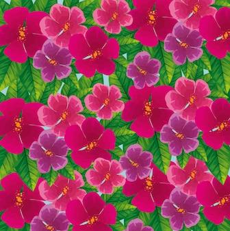 Sfondo di fiori carini fucsia con foglie