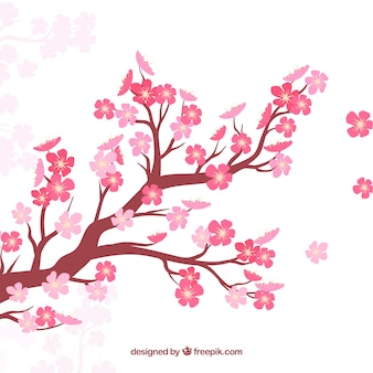 Sfondo di fiori di ciliegio in stile piatto