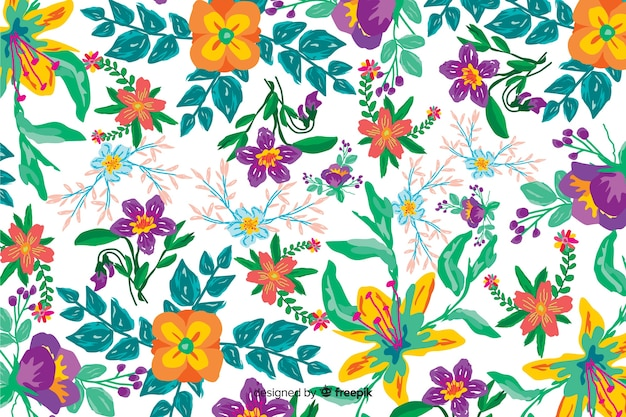 Sfondo di fiori dipinti a mano colorati