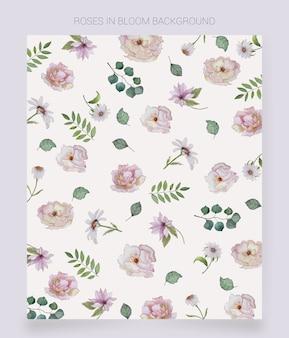 Sfondo di fiori dipinti ad acquerello