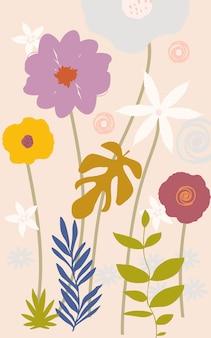 Sfondo di fiori e foglie colorate