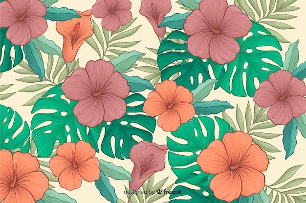 Sfondo di fiori tropicali disegnati a mano