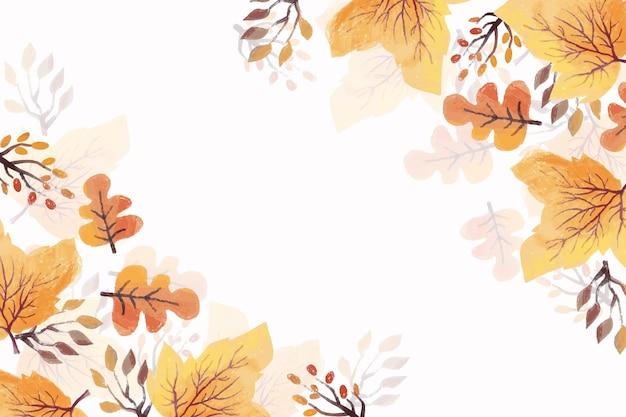 Sfondo di foglie di autunno dell'acquerello