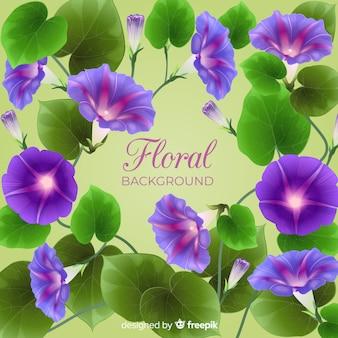 Sfondo di foglie e fiori realistico