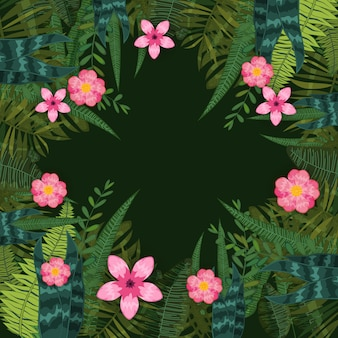 Sfondo di foglie e fiori tropicali alla moda estate di piante esotiche e fiori di ibisco