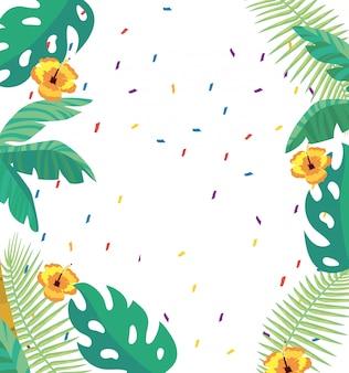 Sfondo di foglie e fiori tropicali