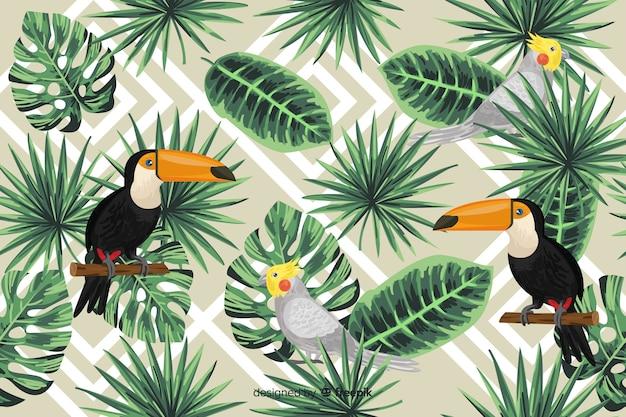 Sfondo di foglie e uccelli tropicali