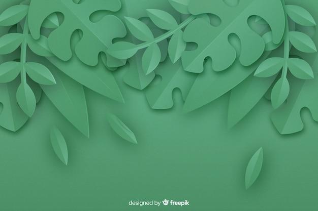 Sfondo di foglie monocromatiche in stile carta