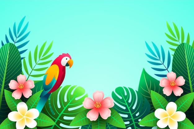 Sfondo di foglie tropicali con pappagallo colorato