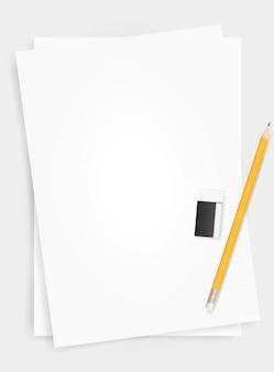 Sfondo di foglio di carta bianca con matita e gomma.