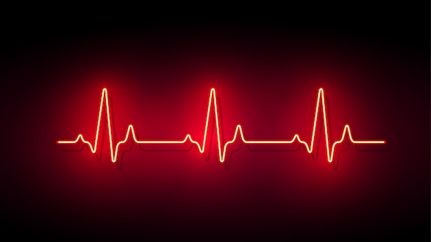 Sfondo di forma di impulso cuore luce al neon