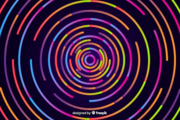 Sfondo di forme al neon circolare